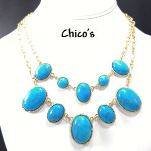 Chico's Gemstone Faux Turquoise Gold Tone Necklace